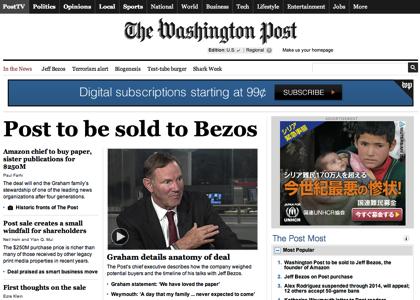 Amazonのジェフ・ベゾスCEO、個人で「ワシントン・ポスト」を買収