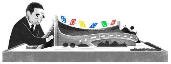 Googleロゴ「丹下健三」に