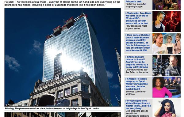 ロンドンにクルマを溶かすビルが出現して話題に → 凹面の側面が原因
