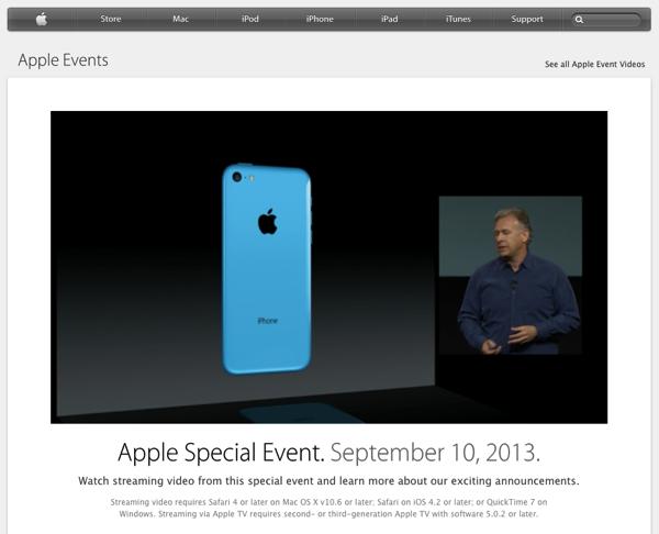 Apple「iPhone 5s」「iPhone 5c」を発表したスペシャルイベントの動画を公開