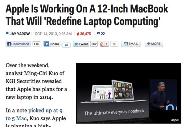 Apple、ラップトップを再定義する12インチのMacBookを開発中か?