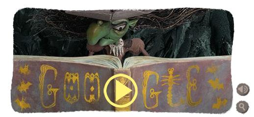 Googleロゴ「ハロウィン 魔女」に