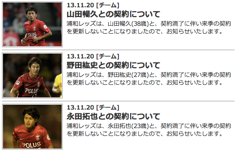 浦和レッズ、山田暢久・野田紘史・永田拓也と契約更新しないことを発表