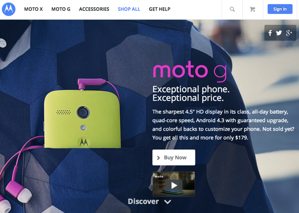 「Moto G」179ドルのSIMフリーAndroid