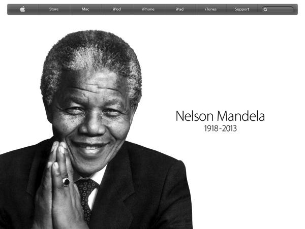 Apple、ネルソン・マンデラをウェブサイトで追悼