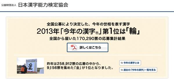 今年の漢字は「輪」(2013年)