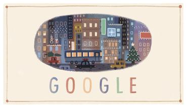 Googleロゴ「クリスマス」に → クリスマスを検索するとサンタがやってくる!