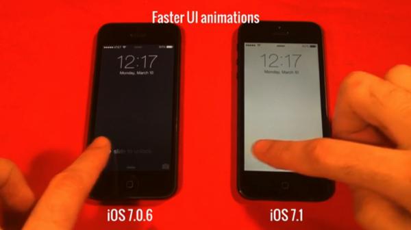 「iOS 7.1」と「iOS 7.0.6」を比較した動画 → UIがキビキビ動くのが分かる