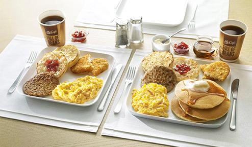 マクドナルド「ビッグブレックファスト」ナイフとフォークで食べるスクランブルエッグとソーセージ、ハッシュポテト、マフィンの朝食