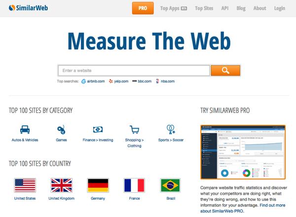 「SimilarWeb」競合サイトの訪問者数、滞在時間、平均ページビュー、アクセス元などを調査できるサイト