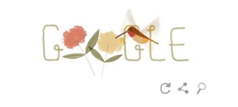 Googleロゴ「ハッピーアースデイ」に → ミズクラゲ・アカフトオハチドリ・スカラベ・フグ・ニホンザル・エボシカメレオンが登場
