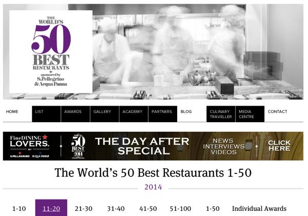 2014年度「世界のベストレストラン50」発表 → 日本から2店がランクイン