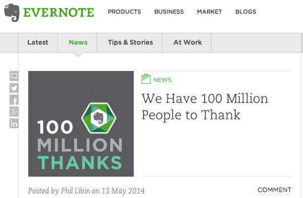 【Evernote】ユーザ数が1億人突破したと発表