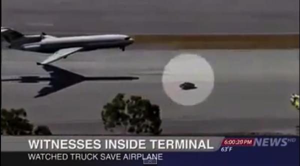 【動画】【追記あり】神業!前輪が故障した飛行機を救ったトラック!
