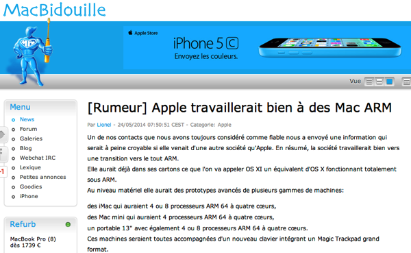 Apple、ARMプロセッサベースのMacを試作か?