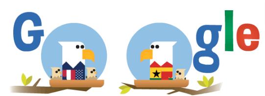Googleロゴ「ガーナ アメリカ」に