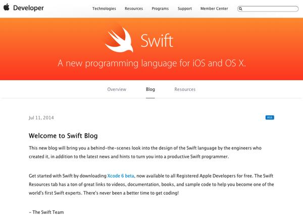 Apple、新しいプログラム言語Swiftの「Swift Blog」開設