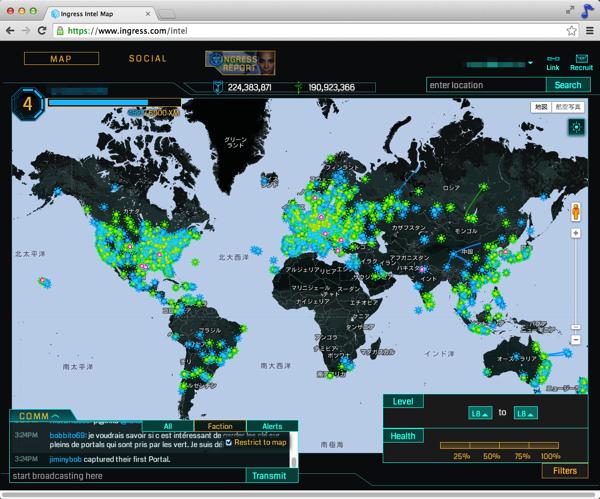 【Ingress】自分の周囲以外のポータルの全体像を見るには「Ingress Intel Map」を使う