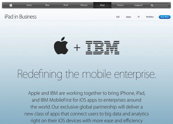 AppleとIBMがモバイルエンタープライズ分野でパートナーシップ締結を発表