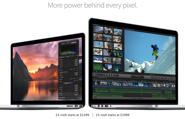 Apple、新しい「MacBook Pro Retinaディスプレイモデル」発表