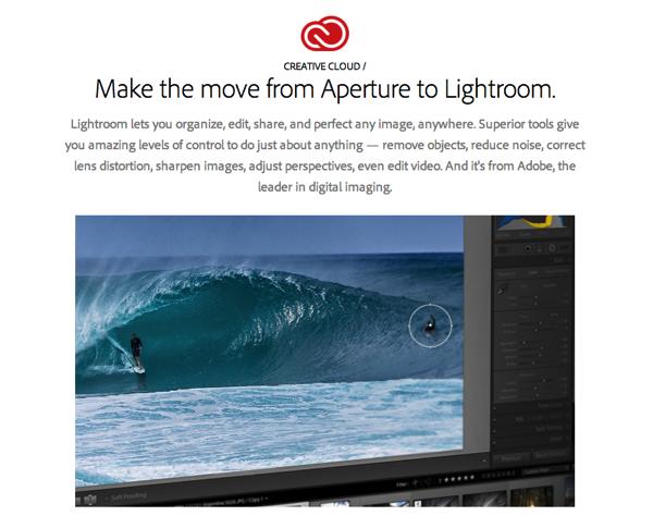 Adobe、Apple「Aperture」から「Lightroom」への引っ越しをサポートするページを開設