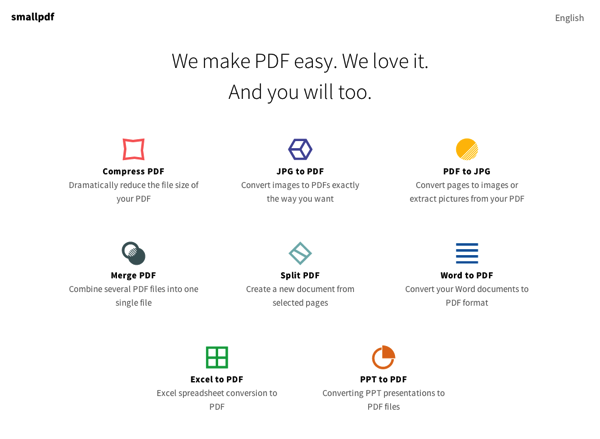 「smallpdf」PDFの圧縮・JPEGのPDF化・PDFの合体・OfiiceファイルのPDF化などが行えるサイト