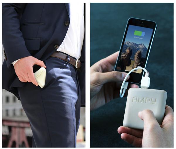 「AMPY」歩いたり走ったり動くと発電するモバイルバッテリーがKickstarterで出資募集中