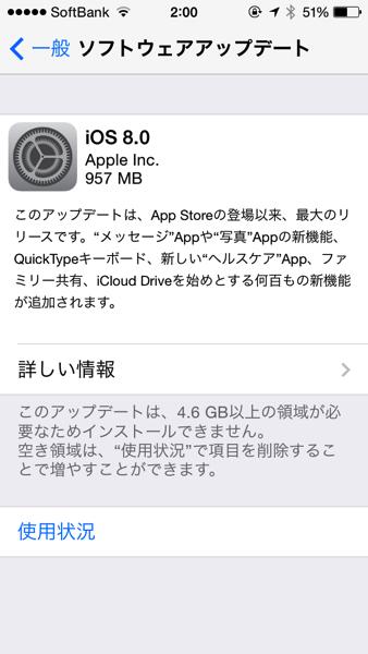 「iOS 8」リリース(iOSデバイスからのアップデートには4.6GB以上の領域が必要)